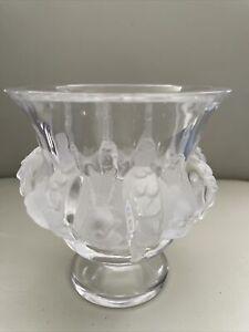 Lalique France Dampierre Frosted Crystal Sparrow Bird & Vine Art Glass Vase