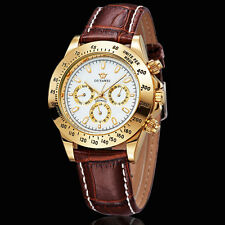 Brown Genuine Leather Band Self Winding Mens Automatic Analog Wristwatch