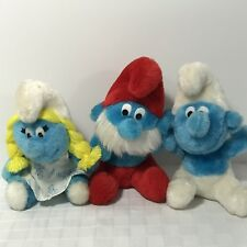 SMURF Plush Dolls Peyo 1981 Smurfette Pappa Clumsy Wallace Berrie