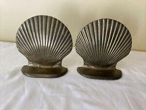 """Vintage Solid Brass Clam Shell Bookends 5"""" x 4 1/2���"""