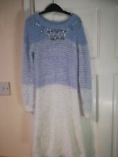 Girl blue and White Knitted Christmas? Dress Age 8 From Tu