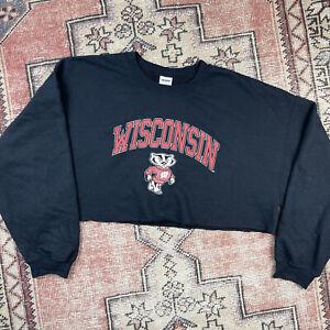 Wisconsin Badgers Oversized Crop Sweatshirt Black Size 2X Gildan