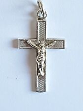 Silver Cross Pendant With Jesus ~ Vintage ~ 2.2cm Length of Cross