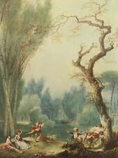 JEAN HONORE FRAGONARD A Game of Horse and Rider VINTAGE LITHOGRAPH French #211