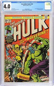 S561. INCREDIBLE HULK #181 Marvel CGC 4.0 VG (1974) 1st FULL App. of WOLVERINE