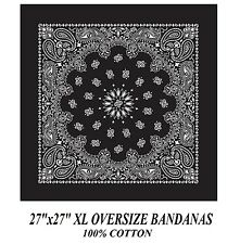 Grande Xl Negro Paisley Bandana 68.6cmsuper over-size pañuelo bufanda de cabeza