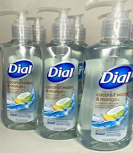 Dial 7.5oz Coconut Water And Mango Hydrating Hand Soap Set Of 6 bottles new