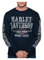 Harley-Davidson Men's Distressed Adventurer Long Sleeve Crew-Neck Shirt - Navy
