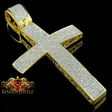 Real Genuine Diamond Yellow Gold Finish Jesus Cross Pendant Piece Charm 3.5 Inch