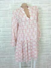 NEU Blogger Hängerchen Kleid Tunika Volant Print 36 38 40 42 Rosa K196 ITALY