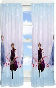 Disney Frozen Swirl 2 Piece Window Panels Set Treatments Sheers Curtains Drape
