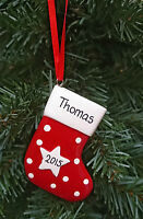 Personalised Xmas Stocking Red, Pink & Blue Christmas Tree Hanging Decoration