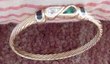 Swarovski Signed SAL Goldtone & Crystal Bangle Bracelet
