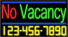 """NEW """"NO VACANCY"""" w/YOUR PHONE NUMBER 37x20 REAL NEON SIGN W/CUSTOM OPTIONS 15116"""