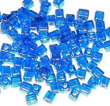 SB8264 Cobalt Blue AB Rainbow 4mm Square Cube Miyuki Glass Seed Beads 12-grams