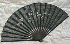 Antique Victorian 19Th C Hand Painted Hand Fan W Florals
