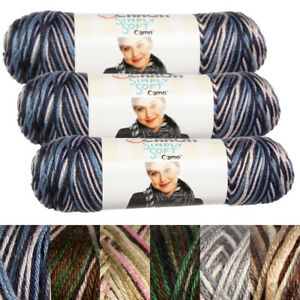 3pk Caron Simply Soft Camo 100% Acrylic Yarn Medium #4 Knit Crochet Skeins Soft