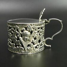 More details for victorian antique drum form silver mustard pot & liner london 1896 - 78 grams