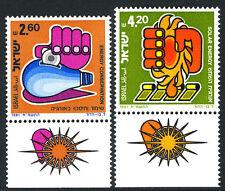 Israel 774-775 tabs, MNH. Hand, Light Bulb; Hand squeezzing solar energy, 1981