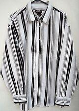 FIVE ELEMENTZ SHIRT 2X 2XL XXL White Black Stripe Cotton Dress Long Sleeve NEW