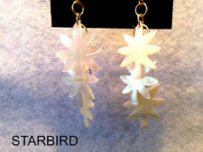 WHITE MOTHER OF PEARL CARVED POT LEAVE DANGLE EARRINGS 80's VINTAGE
