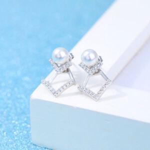 Damen Ohrringen extravagante Ohrringe Sterling Silber 925 + weiße Perlen