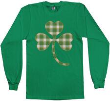 Plaid Shamrock Men's Long Sleeve T-Shirt St. Patrick's Day Irish Pride