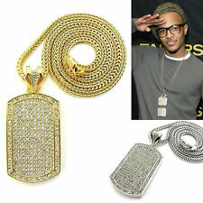 "MENS NEW HIP HOP FULL CZ DOG TAG PENDANT 4mm 36"" FRANCO CHAIN NECKLACE"
