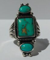 VINTAGE BEAUTY NAVAJO INDIAN STERLING SILVER TURQUOISE RING*
