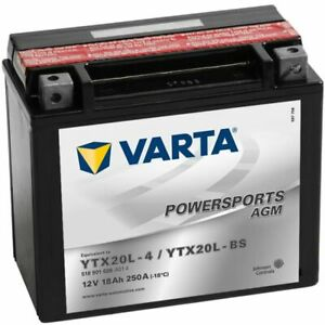 Varta Sealed Motorcycle Powersports AGM Battery YTX20L-4 / YTX20L-BS Charged