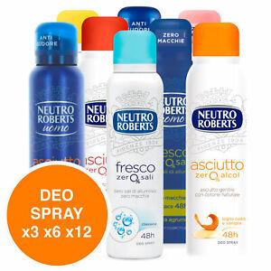 Neutro Roberts Deodorante Spray Vapo Fresco Zero Sali Anti Sudore Deo x3 x6 x12