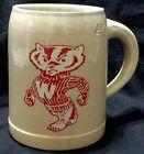 RARE Wisconsin Badgers Stoneware Beer Mug Vintage West Germany BUCKY BADGER