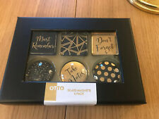 Designer Domed Glass Magnets Black And Gold Box Of Six