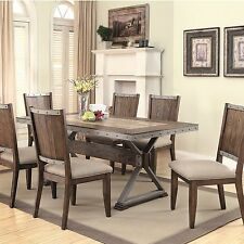 RUSTIC WINE BARREL INSPIRED DINING TABLE & CHAIRS DINING ROOM FURNITURE SET