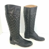 Corso Como Genuine Black Quilted Leather Riding Knee High Tall Boots Size 6.5