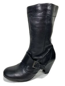 Born Crown Leather Zip Midcalf Bootie Womens 8 M