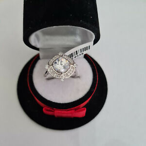Stunning Diamond Ring Set In Rhodium over Sterling Silver