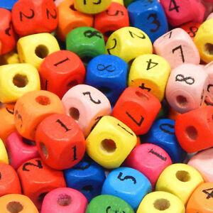 50 Würfel Holzperlen Mix 10mm Zahlenperlen Zahlenwürfel Schmuck Basteln BEST H71