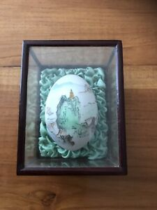 Hand Painted Vintage Chinese Egg Shell In Glass Case On Green Bed
