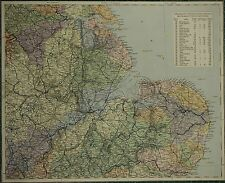 1883 LETTS MAP ~ EAST ENGLAND LINCOLN NORFOLK SUFFOLK WATERSHED SYSTEM NORWICH