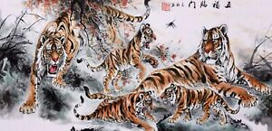Great Tigers King-ORIGINAL ASIAN FINE ART CHINESE ANIMAL WATERCOLOR PAINTING