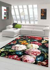 Tapis fleurs salon tapis bouquet en noir crème rouge