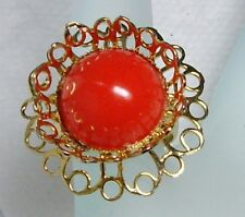 "Jumbo Gold Tone Coral Red Lucite ""GUMBALL"" Flower Shape Adjustable Ring"