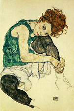 Egon Schiele Reproductions: Woman Sitting With Leg Drawn Up - Fine Art Print