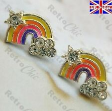 KITSCH RAINBOW crystal STUD EARRINGS star cloud studs RHINESTONE silver plated