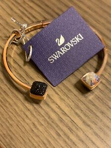 Beautiful Swarovski Rose Gold Open Bangle with Black/Clear Crystals