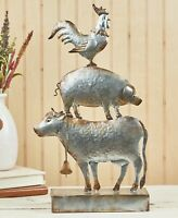 Rustic Galvanized Metal Farm Animal Sculpture Country Farmhouse Cow Pig Rooster