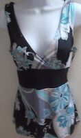 top blouse small s womens sleeveless black gray blue floral print casual stretch