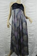 LANGHEM purple strapless squiggle print formal maxi dress size 10 EUC