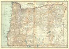 OREGON. stato mappa con le contee & Indiano riserve. Britannica 1903